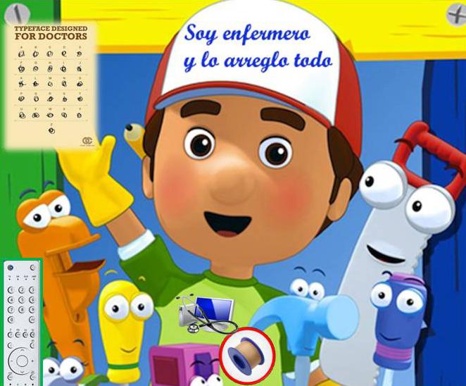 """El Enfermero """"Manny Manitas"""" con todos sus accesorios"""