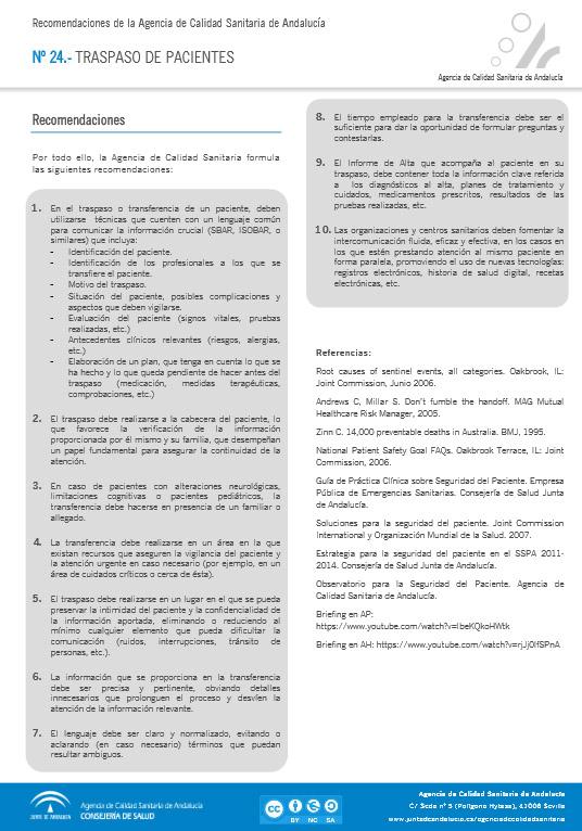 Recomendaciones para el traspaso de pacientes. Agencia de Calidad Sanitaria de Andalucía